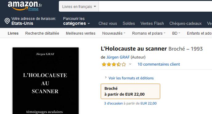 Des ouvrages négationnistes sur Amazon France